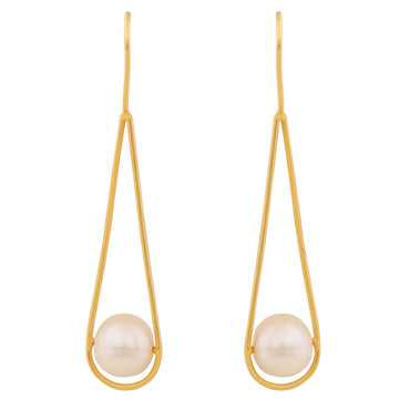 Cradled pearl gold drop earrings