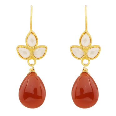 Delicate red onyx and crystal drops