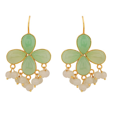 Aventurine and moonstone gold cluster earrings