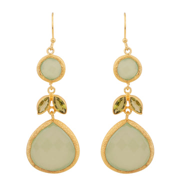 Botanical peridot and chalcedony gold drop earrings