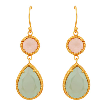 Regal gold drop earrings with chalcedony and rose quartz
