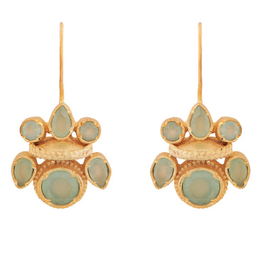 Intricate aqua chalcedony gold heritage earrings