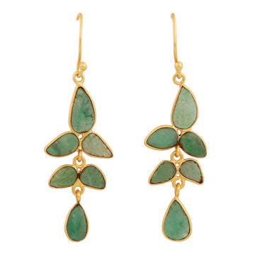 Carved raw emerald petal gold earrings