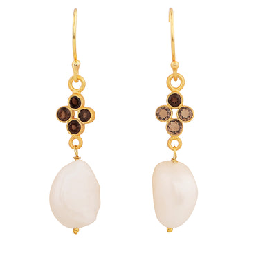 Elegant orb earrings with smoky quartz and pearl