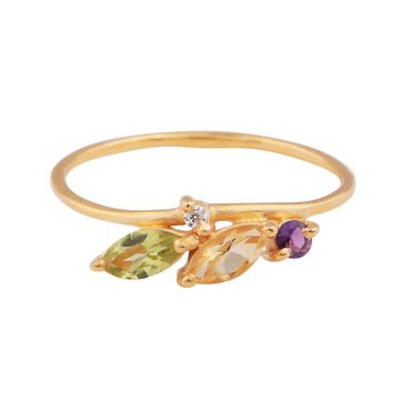 Gold vermeil intricate amethyst, citrine and peridot ring