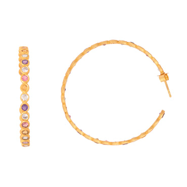 Delicate sliced tourmaline statement hoops