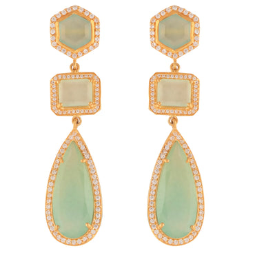 Twilight statement earrings with aqua chalcedony and crystals