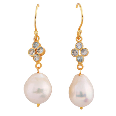 Elegant orb earrings with blue topaz and natural pearl