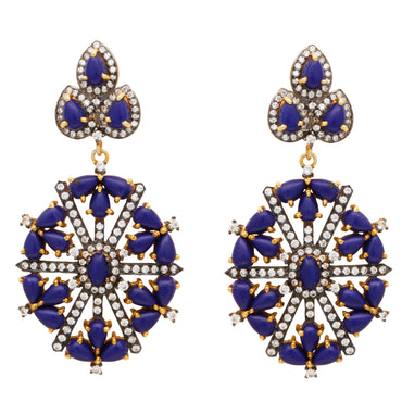 Lapis and crystal statement earrings