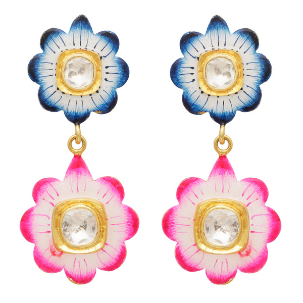 Blue and pink floral enamel earrings