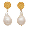 Good luck coin and pearl earrings