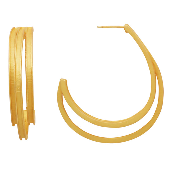 Triple line gold hoops
