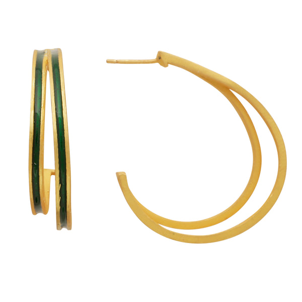 Double line green enamel hoops