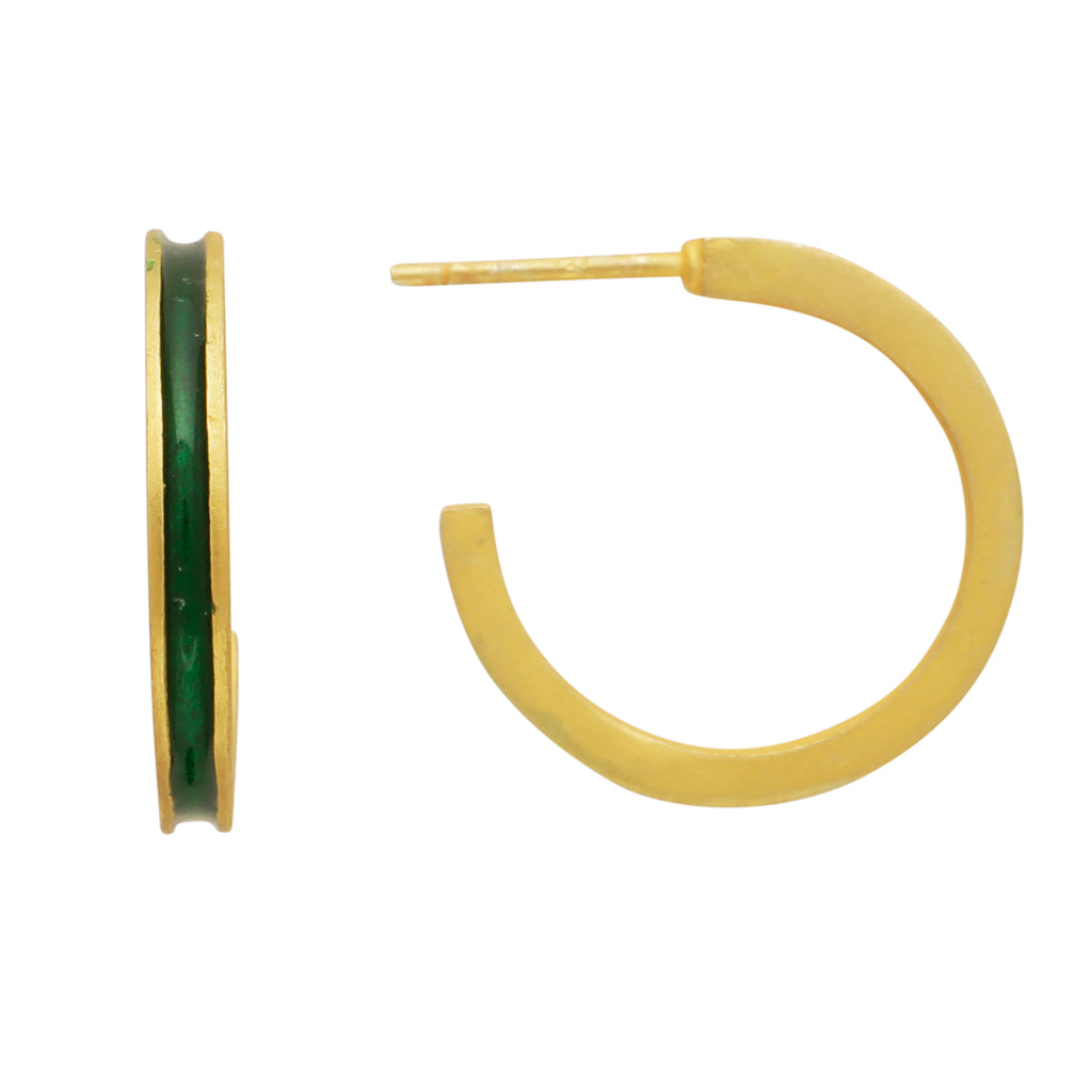 Mini green enamel hoops