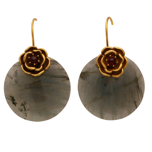 Labradorite flower disc earrings
