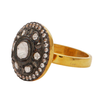 Crystal antique finish ring