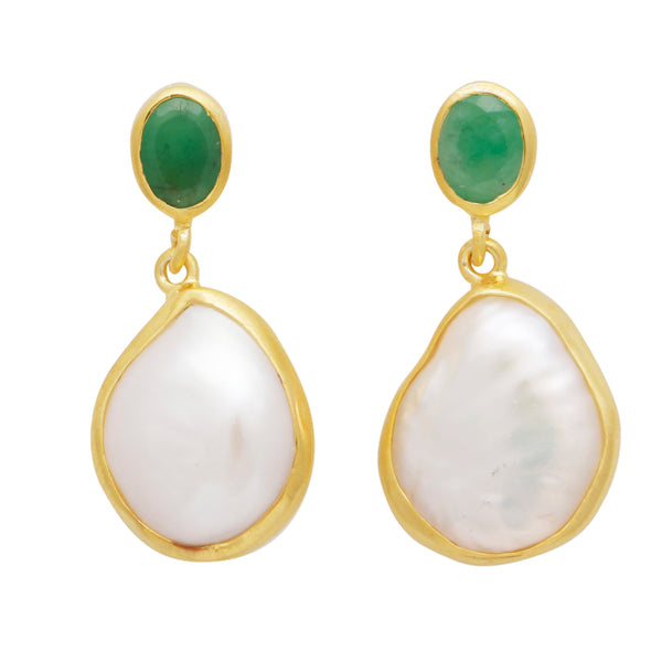 Pearl and green onyx earrings