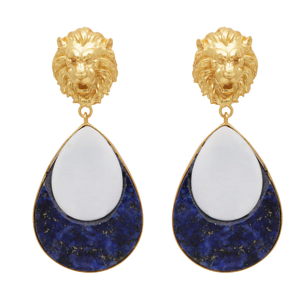 Mother of pearl and lapis lion gold earrings