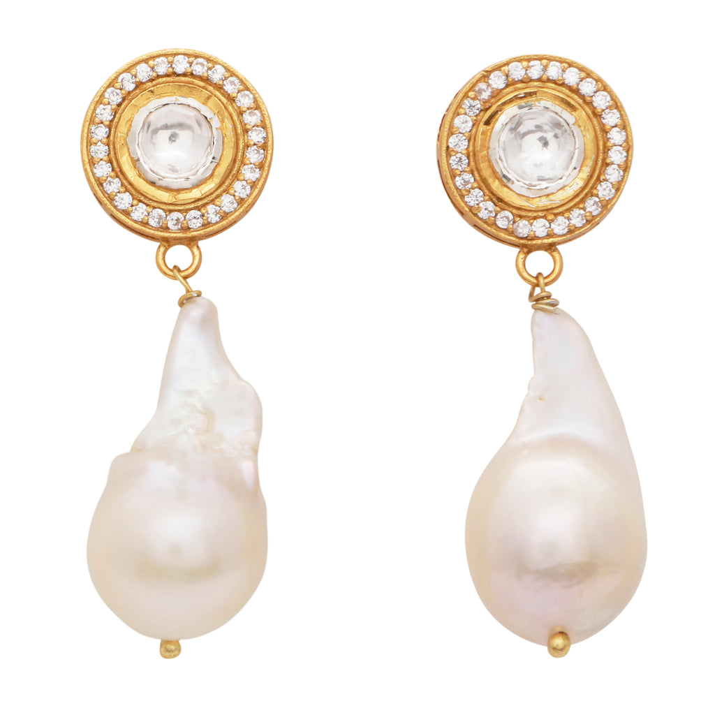 Crystal and natural pearl drop earrings