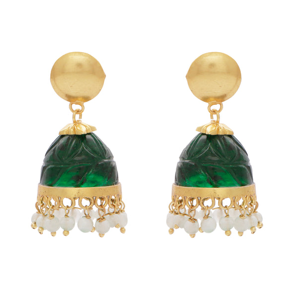 Carved green quartz and aventurine chandelier earrings