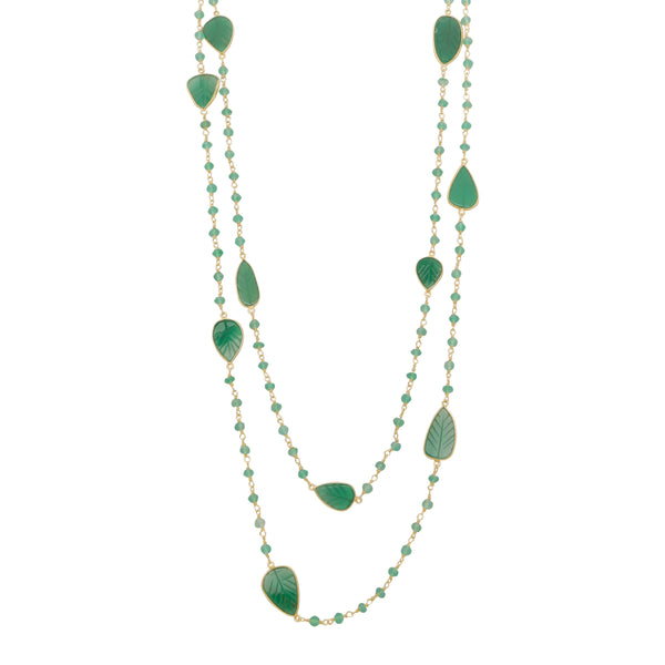 Green onyx leaves necklace
