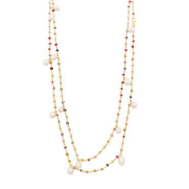 Mixed gemstones and pearl necklace