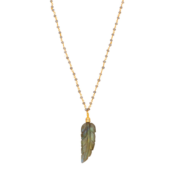 Labradorite feather necklace