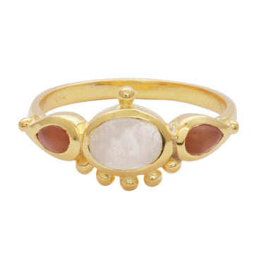 Gold vermeil moonstone and carnelian antique ring