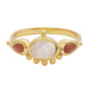 Moonstone and carnelian antique ring