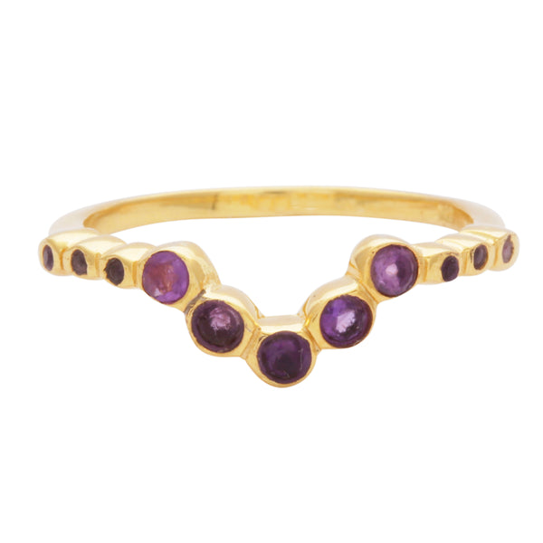 Amethyst V shaped ring