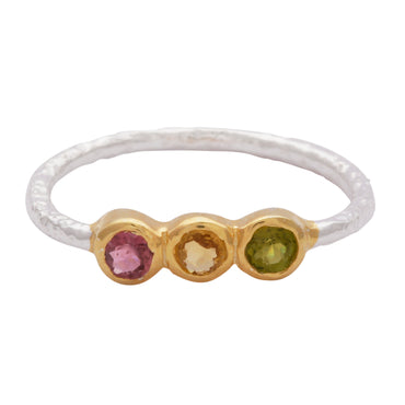 Gold vermeil and silver delicate tourmaline trio ring