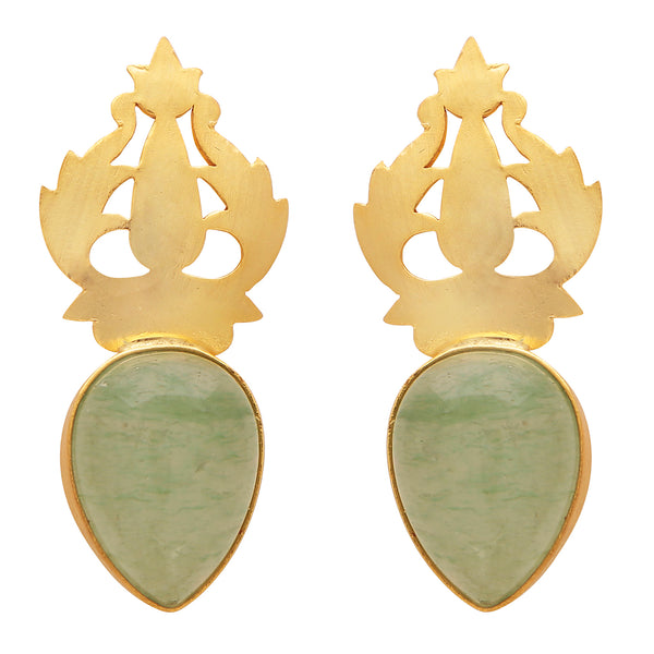 Hand-carved gold and chalcedony earrings