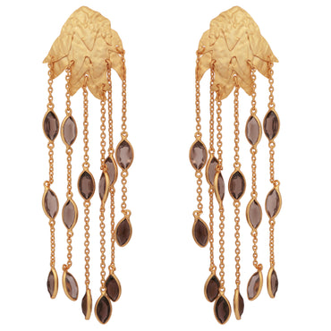 Textured gold leaf and smoky quartz earrings