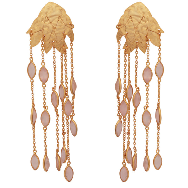 Textured gold leaf and rose quartz earrings