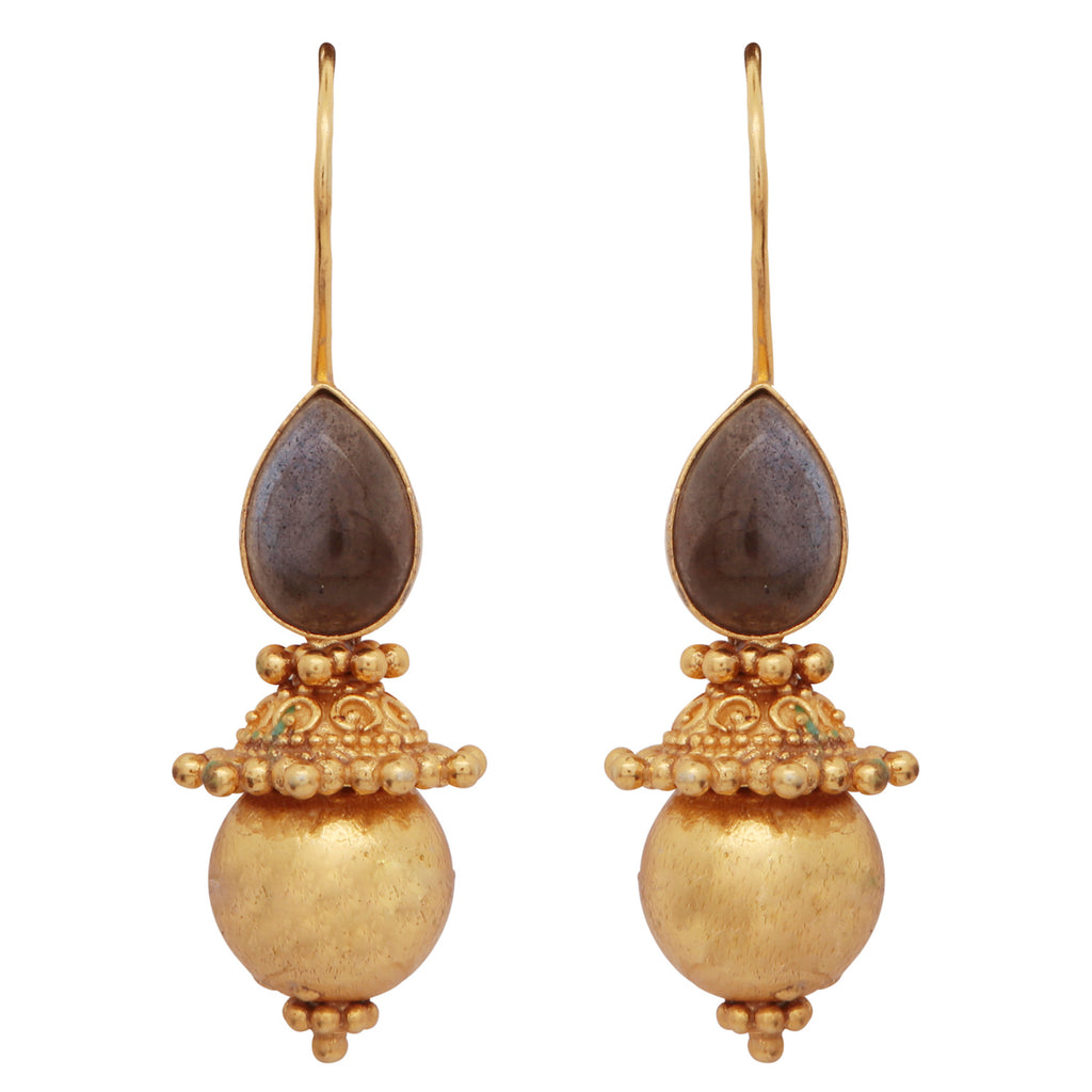 Labradorite and gold sphere earrings