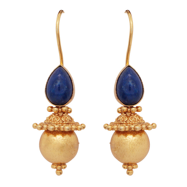 Lapis and gold sphere earrings