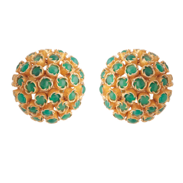 Green onyx cluster studs
