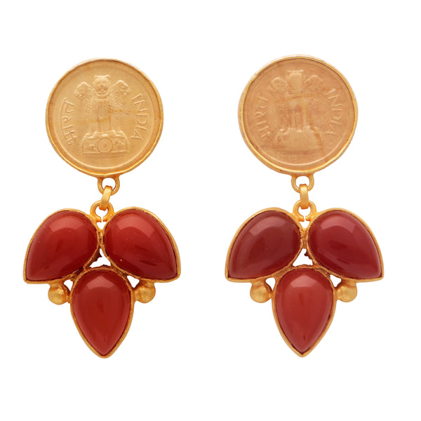 Red onyx coin earrings