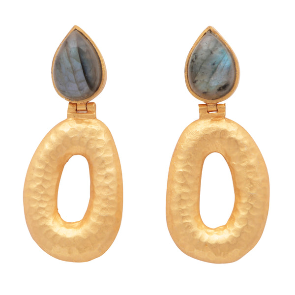 Matte gold finish labradorite earrings