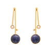 Blue lapis and pearl drop earrings