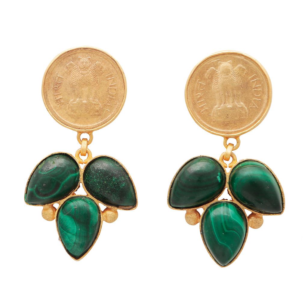 Malachite coin earrings