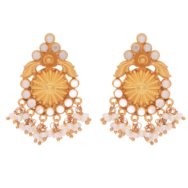 Intricate pearl and crystal clustered earrings