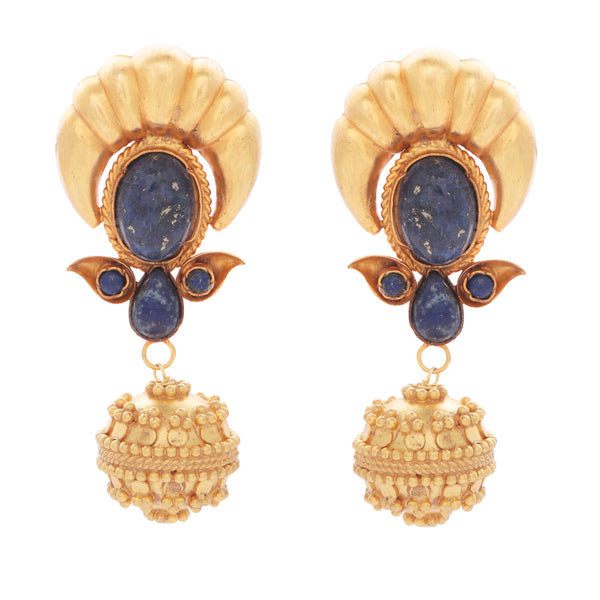 Blue lapis and gold ball drop earrings