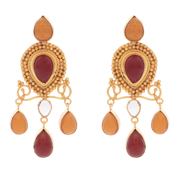 Red onyx and carnelian earrings