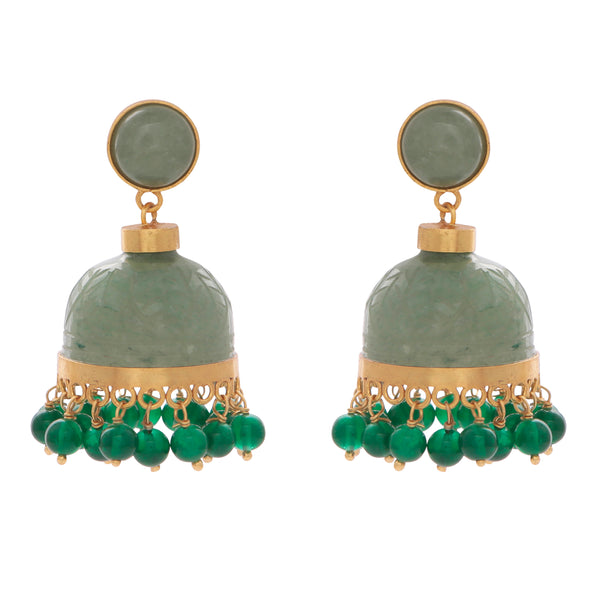 Carved aventurine chandelier earrings