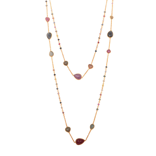 Multicoloured sapphire chain necklace