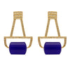 Blue deco and crystal gold earrings
