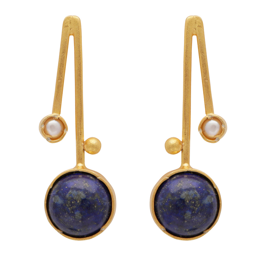 Blue lapis and pearl short drop earrings