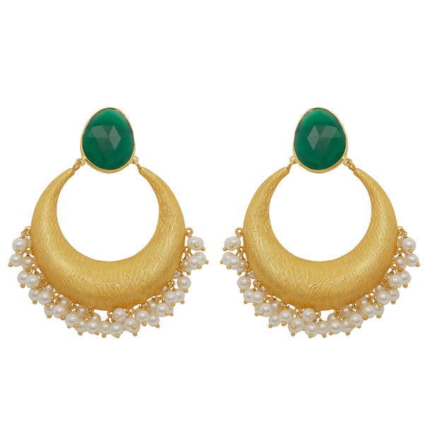 Green onyx and pearl cluster earrings