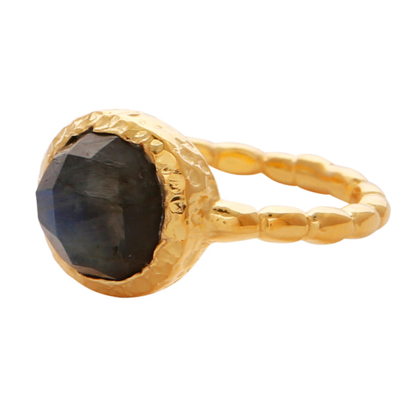 Labradorite gold textured ring